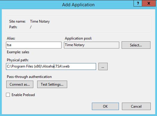 Aloaha create application pool