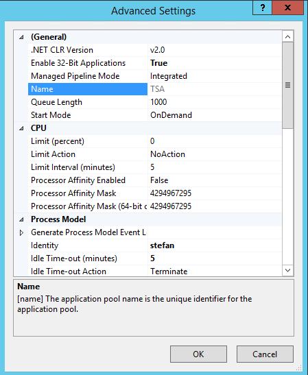 Aloaha IIS TSA advanced settings